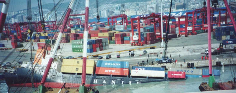 Hanjin Container Ship Sinking at Pier
