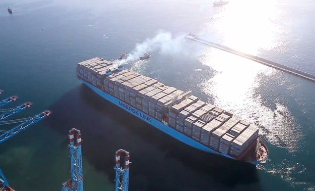 Triple-E nearly fully loaded departing Algeciras, Spain.  Photo courtesy Maersk Line