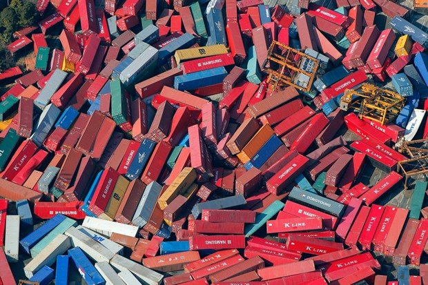 Japan Tsunami - Containers In Port