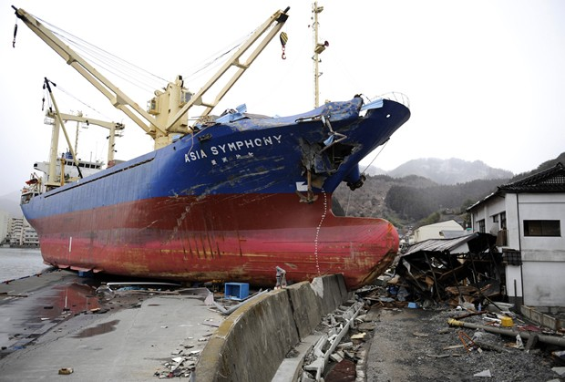 Japan Tsunami - Ship On Seawall