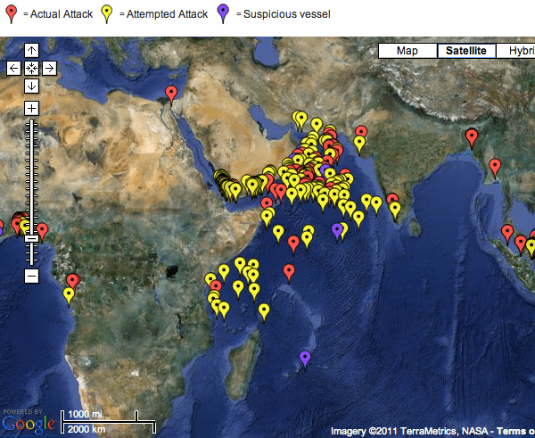 indian ocean piracy 2011 map