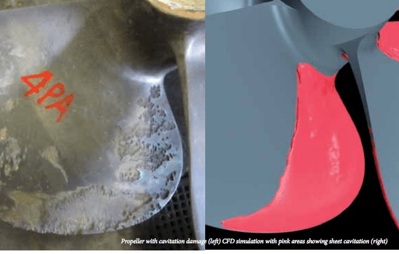 propeller cavitation damage
