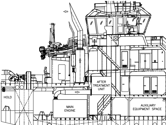 tugboat side view drawing engineroom