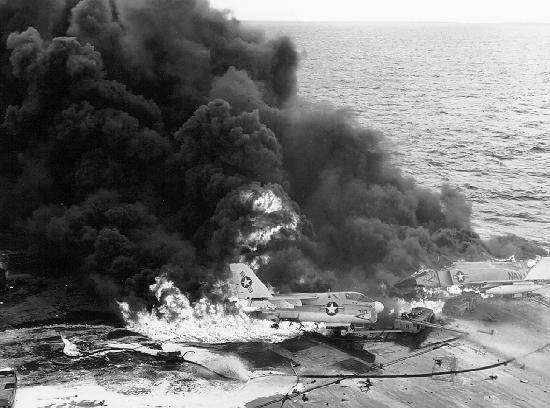 aircraft fire zuni rocket uss enterprise vietnam war