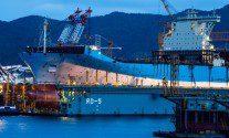 Triple-E Class Vessel, Construction In Floating Drydock