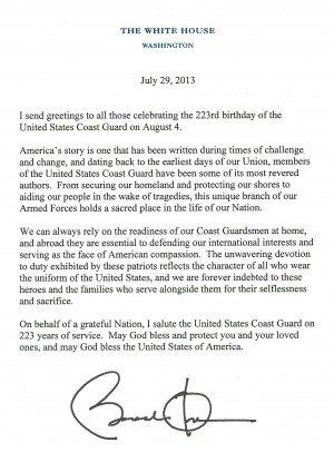barack obama us coast guard letter