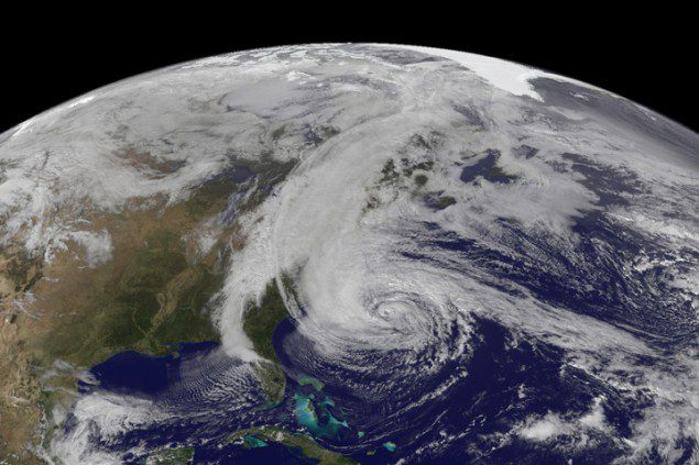 The Geostationary Operational Environmental Satellite 13 (GOES-13) captured this natural-color image of Hurricane Sandy at 1:45 p.m. Eastern Daylight Time (17:45 Universal Time) on October 28, 2012