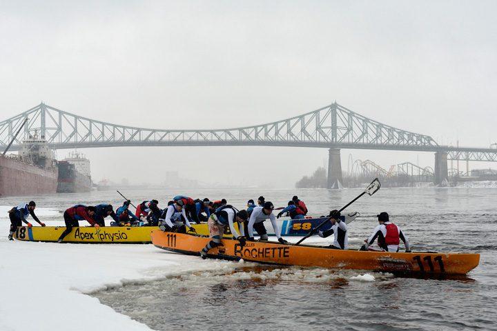 ice canoeing montreal canoe