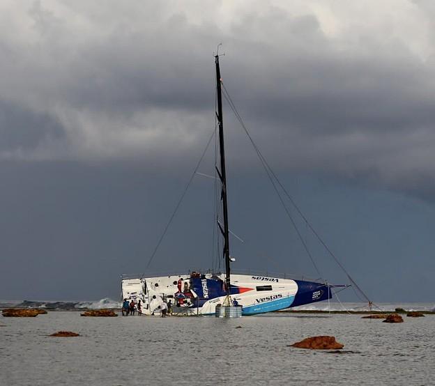 team vestas wind aground