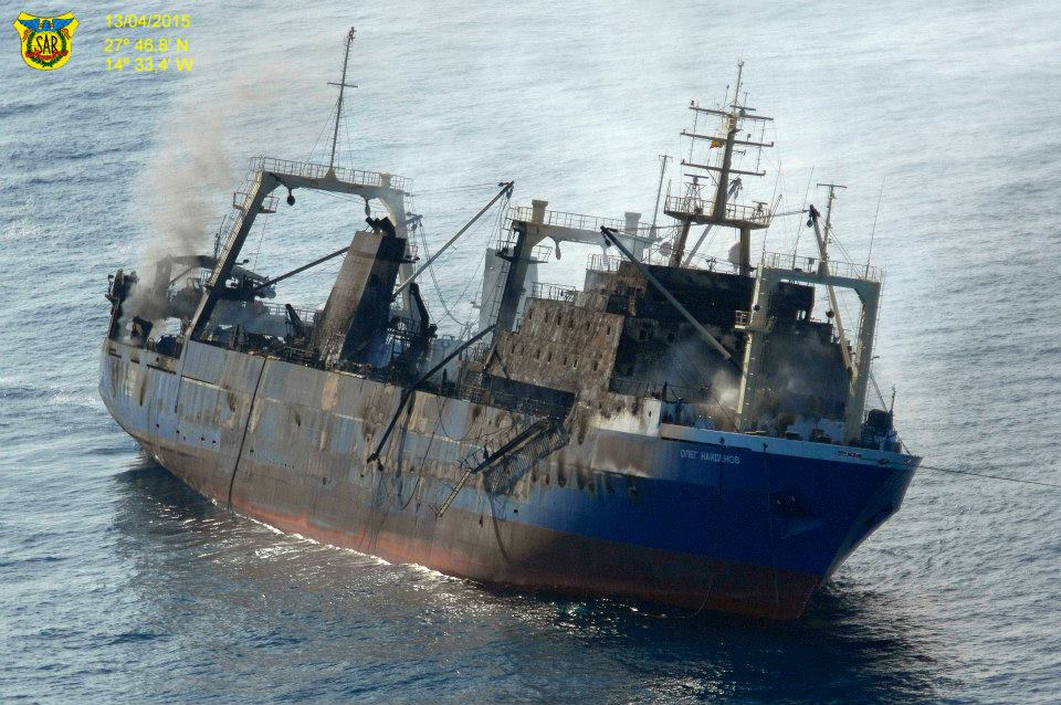 Oleg Naydenov smolders after being towed out to sea near the Canary Islands. Photo: Salvamento Maritimo
