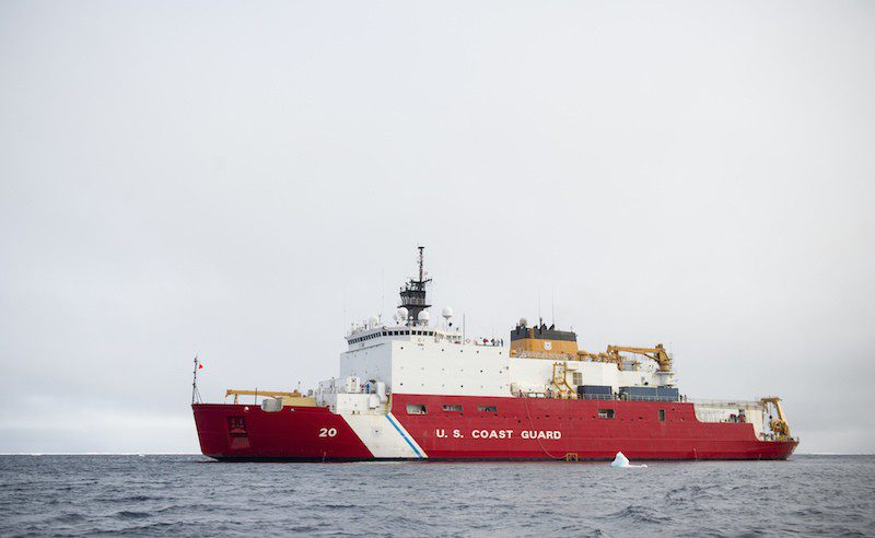 The medium icebreaker USCGC Healy cruises through the Arctic Ocean Aug. 19, 2015, in support of the Geotraces mission. U.S. Coast Guard Photo