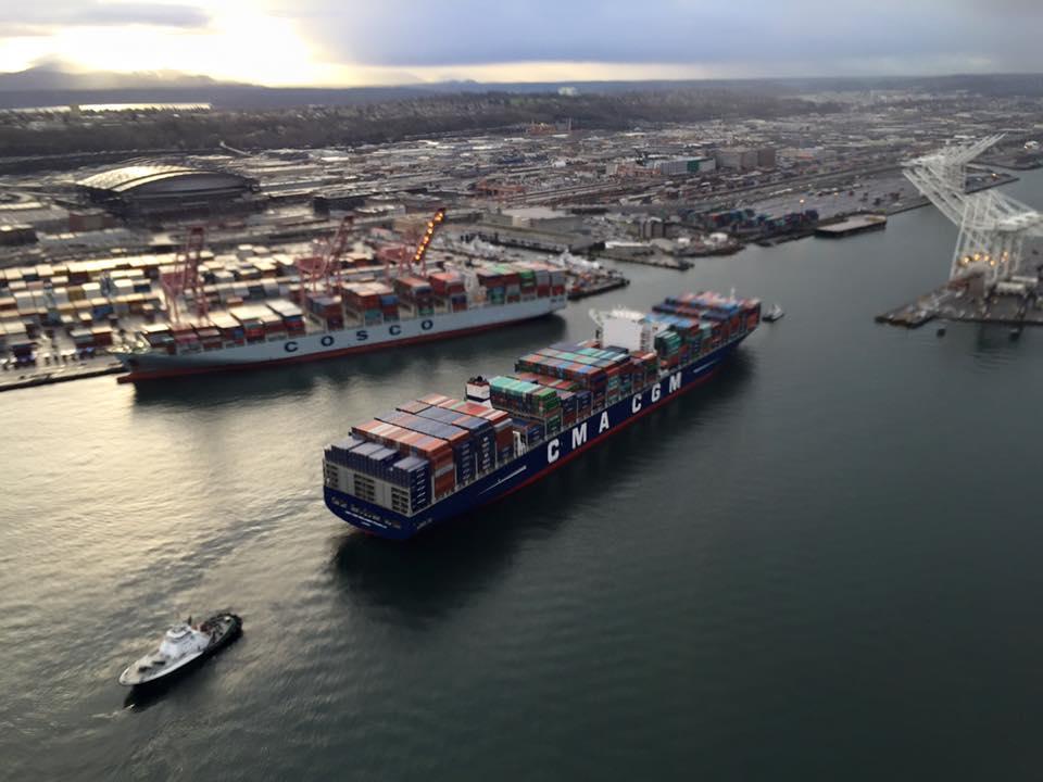 SPOTD: Record-Breaking CMA CGM Benjamin Franklin Arrives in Seattle
