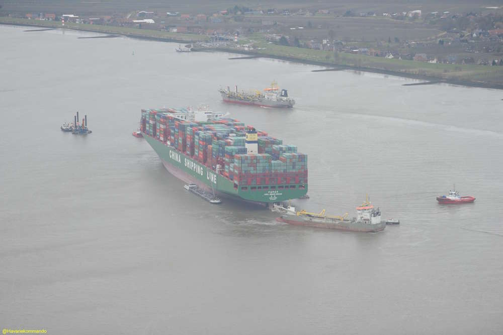 The CSCL Indian Ocean aground in the Elbe River, February 7, 2016. Photo credit: Central Command for Maritime Emergencies