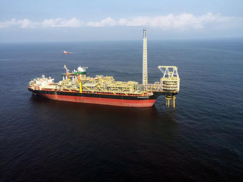 The oil ship Prof John Evans Atta Mills is seen moored off the coast of the port of Takoradi, Ghana, July 14, 2016. Picture taken July 14, 2016. REUTERS/Matthew Mpoke Bigg