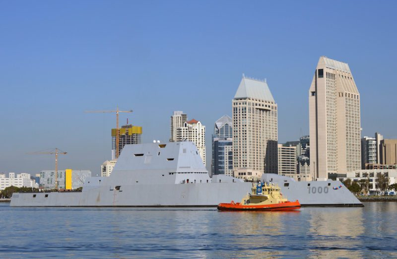 SAN DIEGO (Dec. 8, 2016) — The Navy's most technologically advanced surface ship, USS Zumwalt (DDG 1000), steams through San Diego Bay after the final leg of her three-month journey en route to her new homeport in San Diego. Zumwalt will now begin installation of combat systems, testing and evaluation and operation integration with the fleet. (U.S. Navy Photo by Melissa K. Russell/Released)