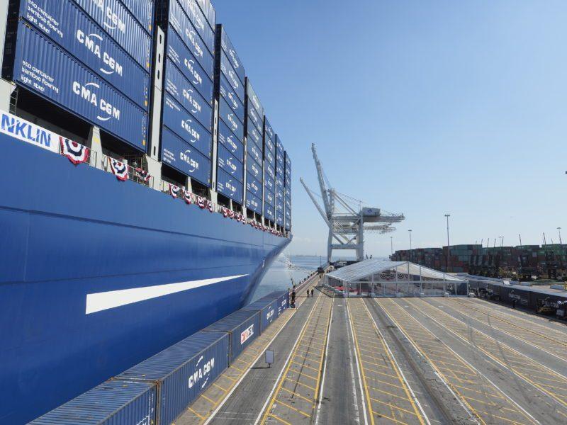 CMA CGM mega sized containership M/V Benjamin Franklin