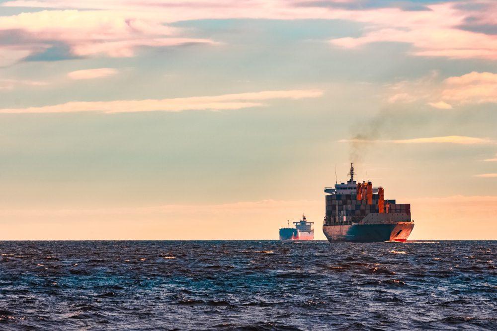 cargo ships underway