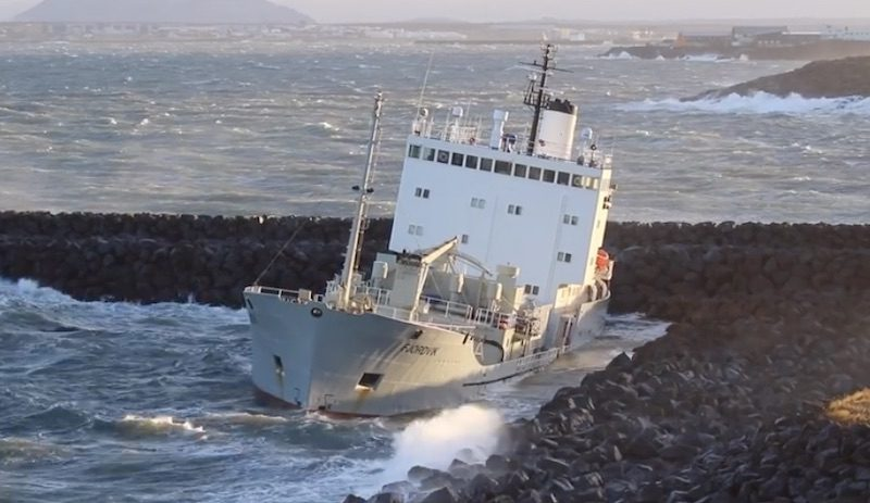 ship aground in iceland