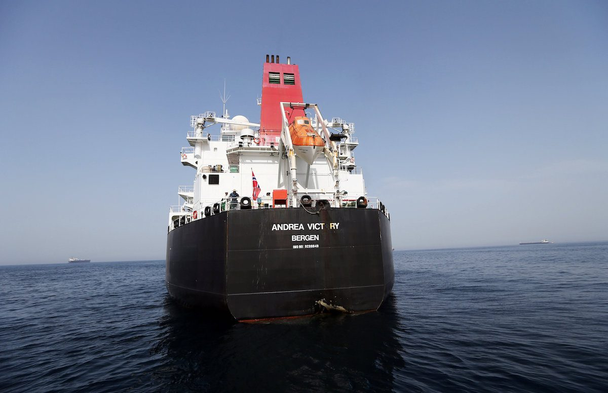 A damaged Andrea Victory ship is seen off the Port of Fujairah