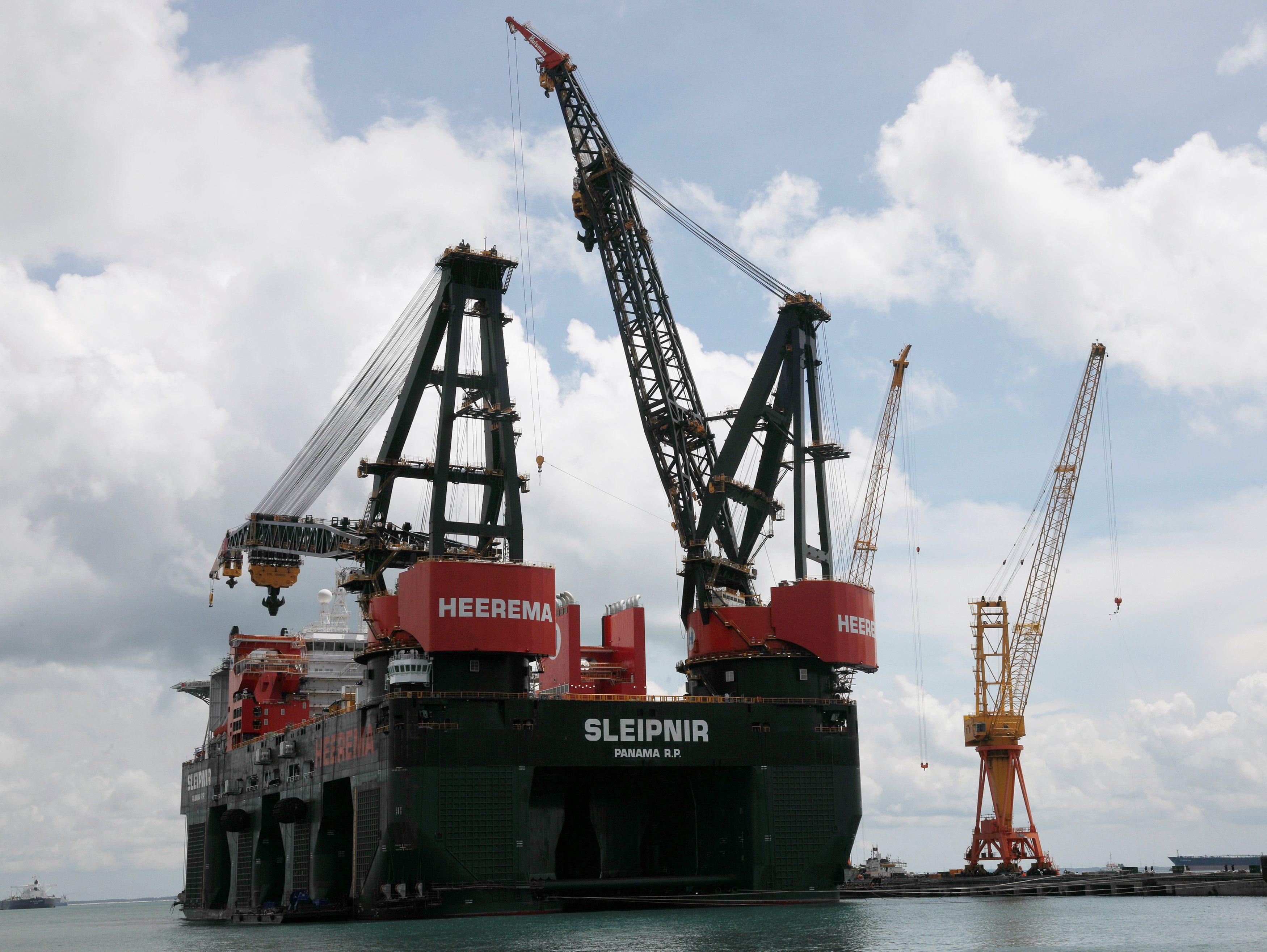 Heerema Marine Contractors' Sleipnir, the world's largest semi-submersible crane vessel, sits in the Sembcorp Marine shipyard in Singapore