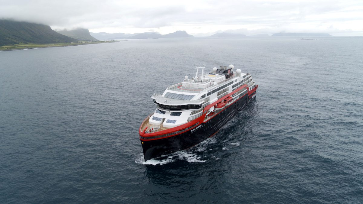 Hurtigruten's cruise ship MS Roald Amundsen is seen in the sea near Ulsteinvik