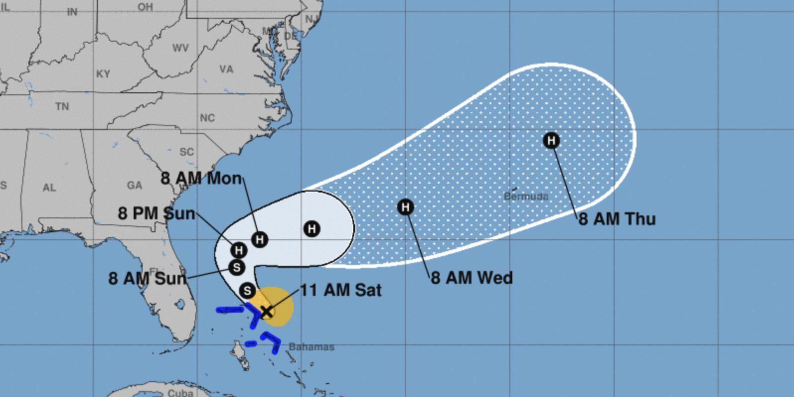 Tropical Storm Humberto Map