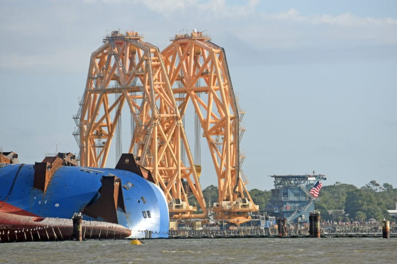 Photos: Towering VB10000 Arrives at Golden Ray Wreck Site