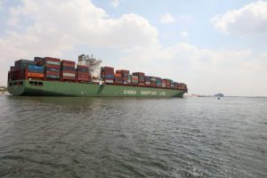 containership in suez canal