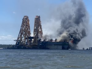 golden ray wreck on fire