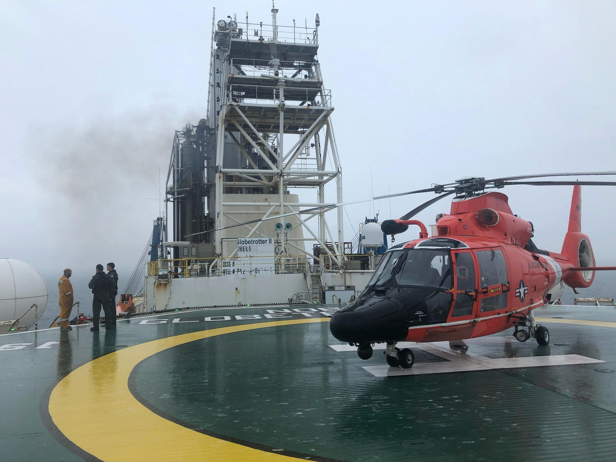 USCG Air Station New Orleans aircrew aboard the Noble Globetrotter II. Photo via USCG